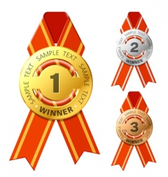 Gold silver and bronze awards vector