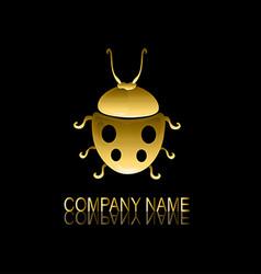 golden ladybug symbol vector image vector image