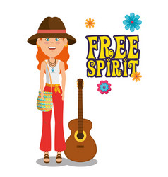 hippie woman with a guitar cartoon vector image