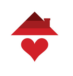 home with heart in red color vector image