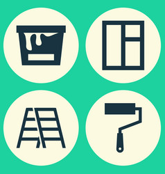Industry icons set collection of glass frame vector