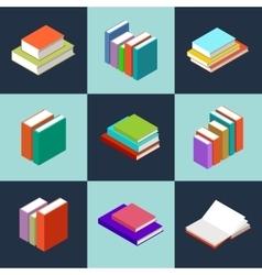 isometric books vector image vector image
