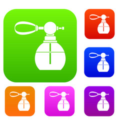 Perfume bottle with vaporizer set collection vector
