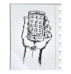 Phone doodle vector image vector image