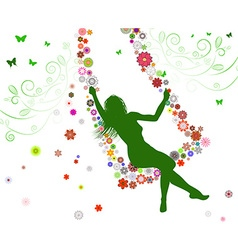 Silhouette of a girl on a swing vector