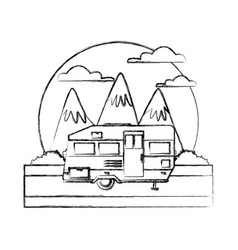 trailer home isolated between mountains landscape vector image