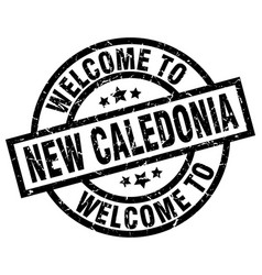 Welcome to new caledonia black stamp vector