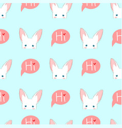White rabbit sneaking on blue background vector