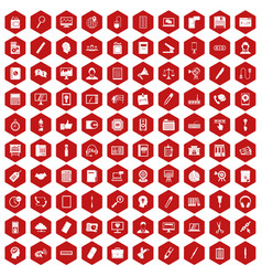 100 office work icons hexagon red vector