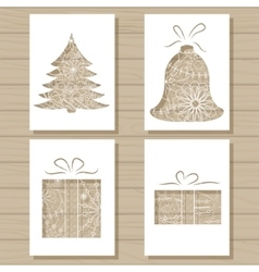 Christmas set of stencil templates on wooden vector