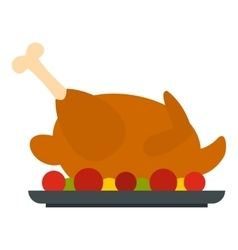 Fried chicken with tomatoes icon flat style vector