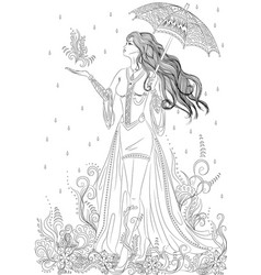 Girl in the form of flora vector