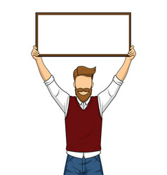 Handsome man holding blank board vector