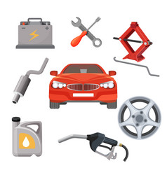 Car service set red automobile and working vector