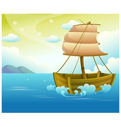 Sailing wooden boat in sea vector