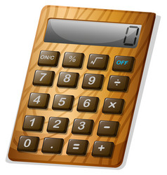 Calculator with wooden frame vector