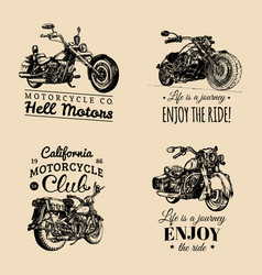 motorcycles advertising posters set hand vector image