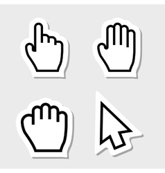 Hand cursors icons as labels vector