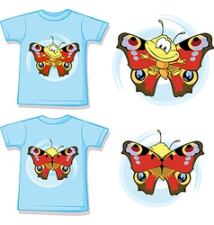Kid shirt with cute butterfly printed vector