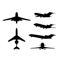 Big collection of different airplane silhouettes vector