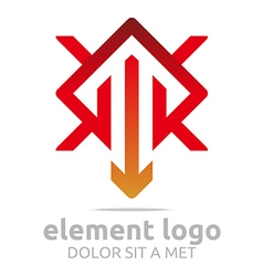 Logo element red arrow orange design symbol icon vector