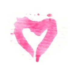 Watercolor painted pink heart element vector