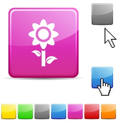 Flower glossy button vector