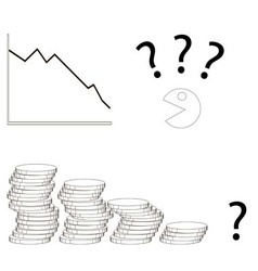 decline in profits in the business graph and money vector image