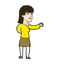 Comic cartoon woman explaining vector