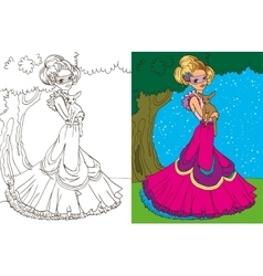 Colouring book of princess in forest vector