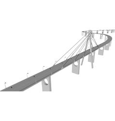 3D bridge City buildings view vector image