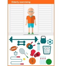 Elder men with set of sport equipment vector