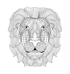 Lion head coloring for adults vector