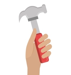Human hand and hammer graphic vector