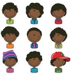 African-american boys avatar vector