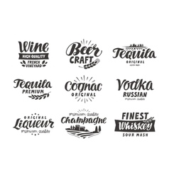 Alcoholic drink collection lettering labels for vector