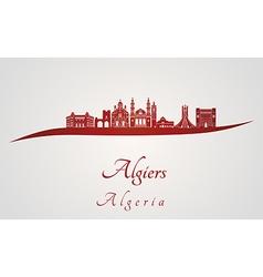 Algiers skyline in red vector