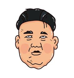 Cartoon portrait of the sad kim jong-un vector