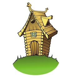 cartoon wooden house vector image vector image