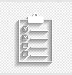 Checklist sign white icon vector