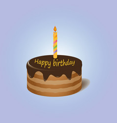 chocolate cake with candle happy birthday vector image vector image