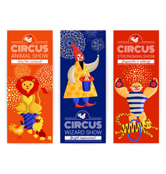 circus vertical banners set vector image vector image