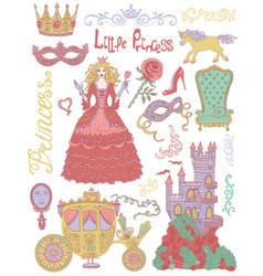 colorful hand drawn set with princess vector image vector image