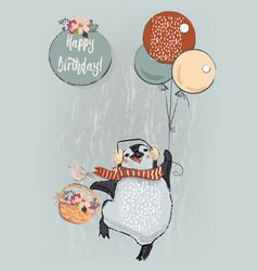 Cute penguin with balloons vector