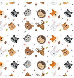 Cute wild animals head pattern over white vector