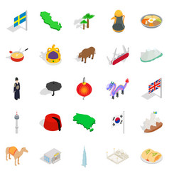 Europe icons set isometric style vector