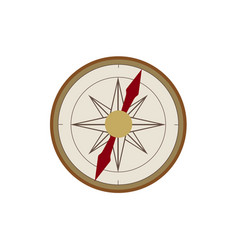Flat cartoon vintage retro style compass vector