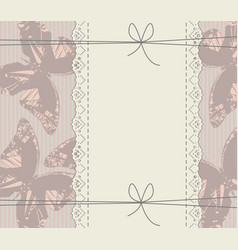 glamour background with lace frame butterflies vector image vector image