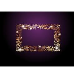 Golden floral decorative frame vector
