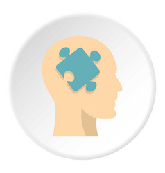 head silhouette with jigsaw puzzle icon circle vector image